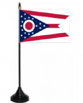 Ohio Desk / Table Flag with plastic stand and base.